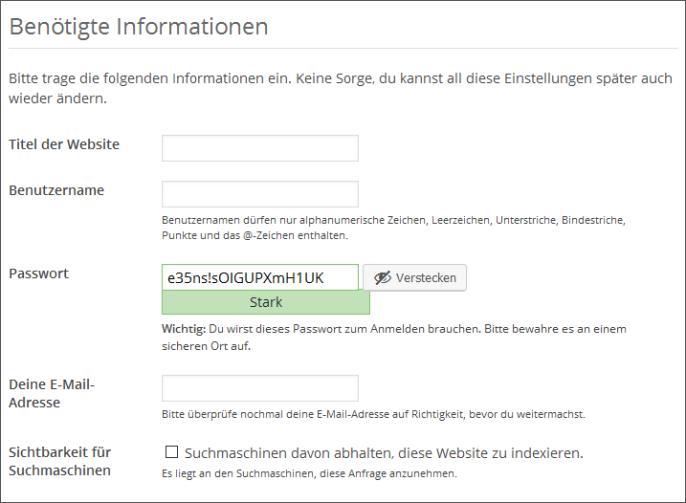 Angaben für die WordPress-Installation