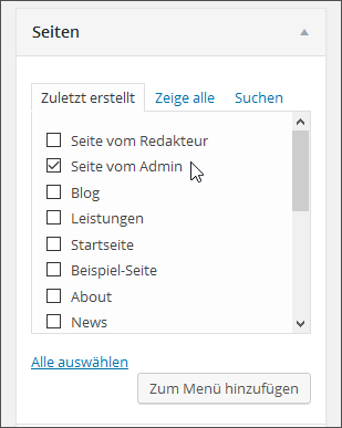 WordPress-Menüpunkt auswählen und hinzufügen
