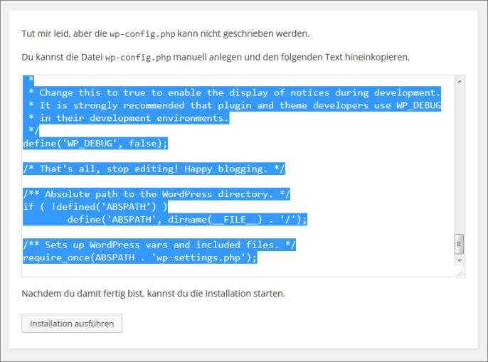 Angaben für die wp-config.php