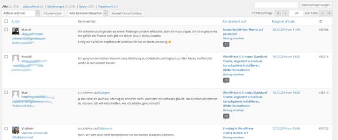 Kommentarübersicht in WordPress