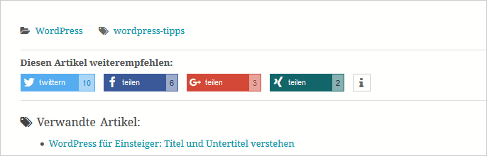 Shariff Wrapper: Social-Media-Buttons in WordPress