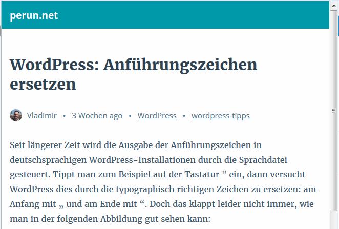 Mobile Ausgabe eines WordPress-Artikels, generiert mit AMP