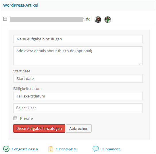 WordPress Projektmanager: neue Aufgabe in einer bestehenden To-Do-Liste anlegen