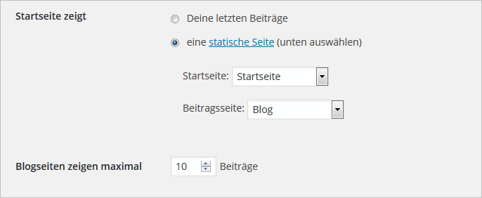 Startseite in WordPress festlegen