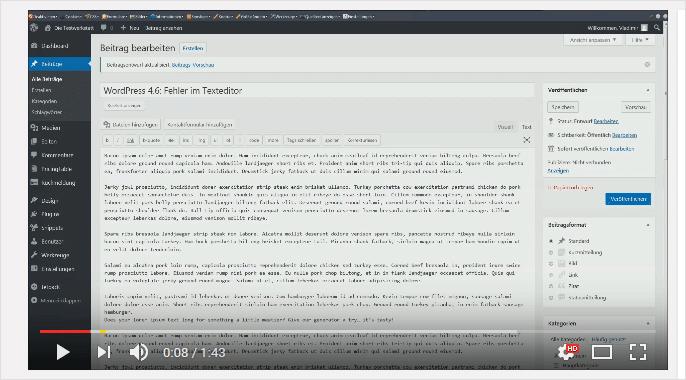 Screencast: Fehler im Texteditor von WordPress 4.6
