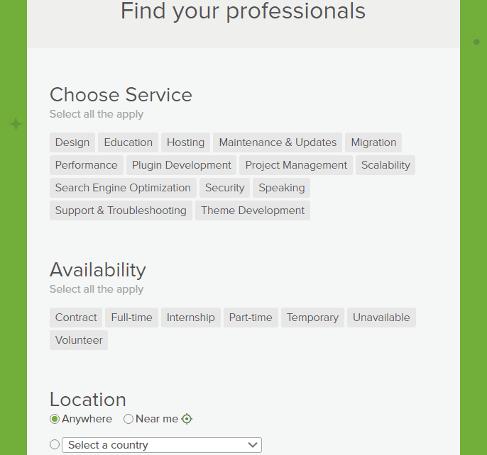 Jetpack.pro nach WordPress-Dienstleistern durchsuchen