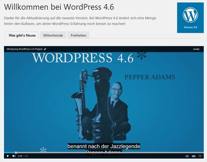 Das Begrüßungsbildschirm von WordPress 4.6