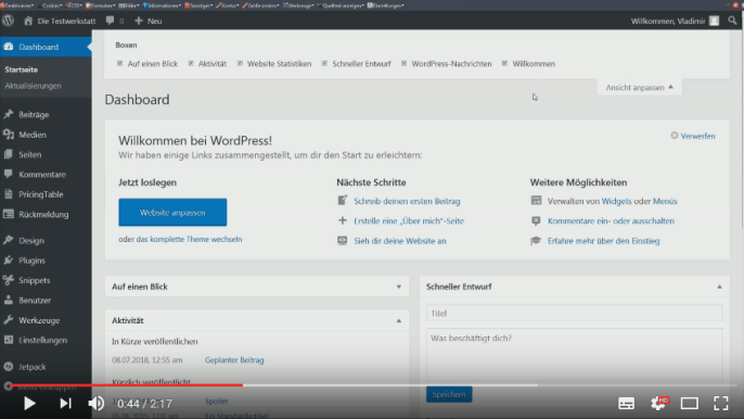 Screencast: Ansicht anpassen in WordPress