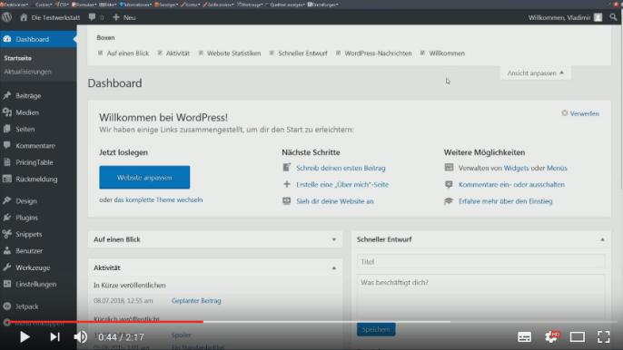 Screencast: Ansicht anpassen in WordPress