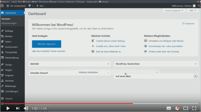 Screencast: Boxen im Dashboard von WordPress anordnen