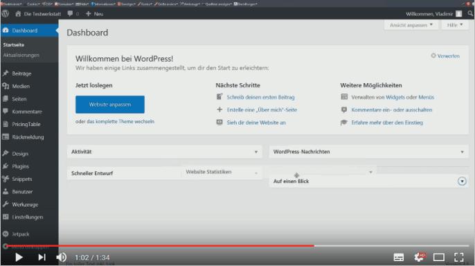 Screencast: Boxen im Dashboard von WordPress anordnen