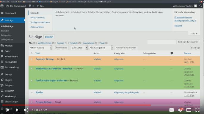 Screencast: die Hilfefunktion in WordPress
