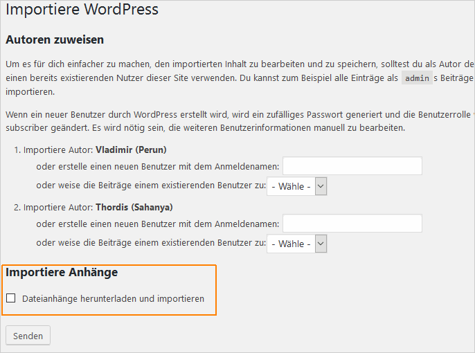 WordPress-Import