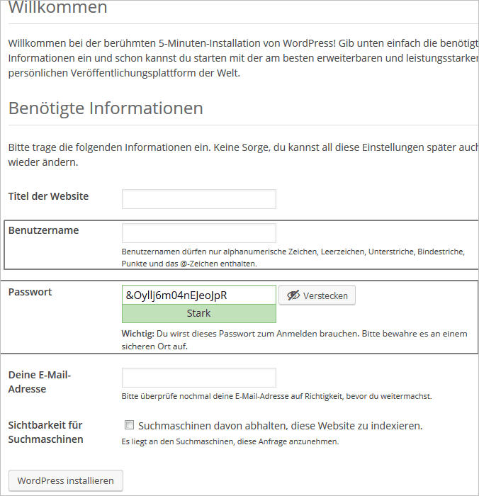 WordPress-Installation: Wahl des Benutzernamens und starkes Passwort dank des eingebauten Generators