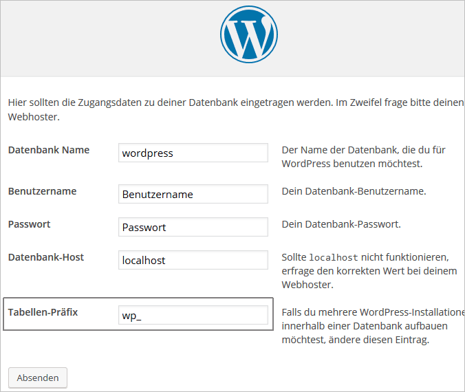 WordPress-Installation: Tabellenpräfix ändern
