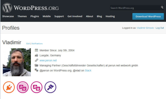 Mein Profil auf WordPress.org