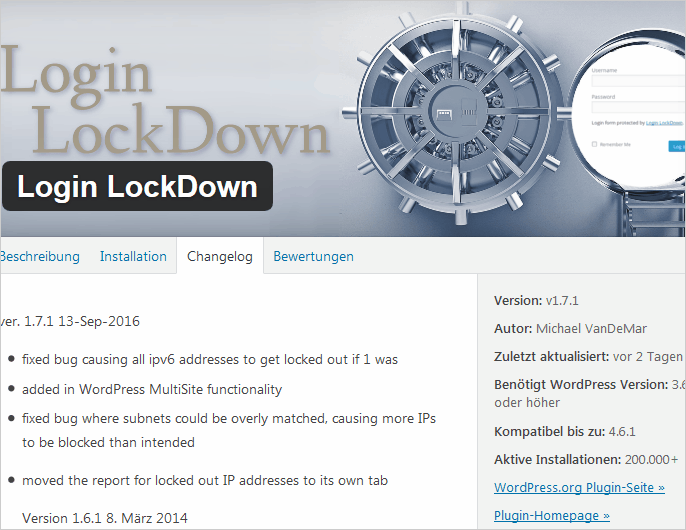 Neue Version von Login LockDown für WordPress