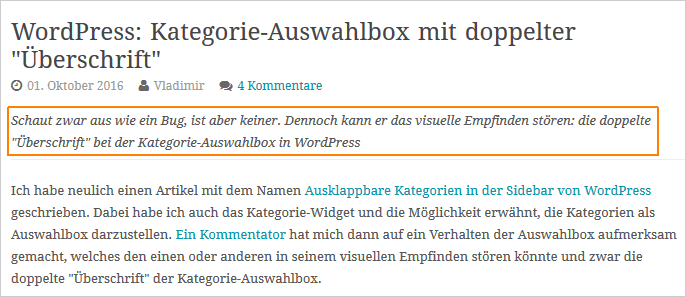 Eine Unterzeile in WordPress