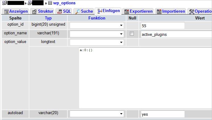 In der Datenbank alle WordPress-Plugins deaktivieren