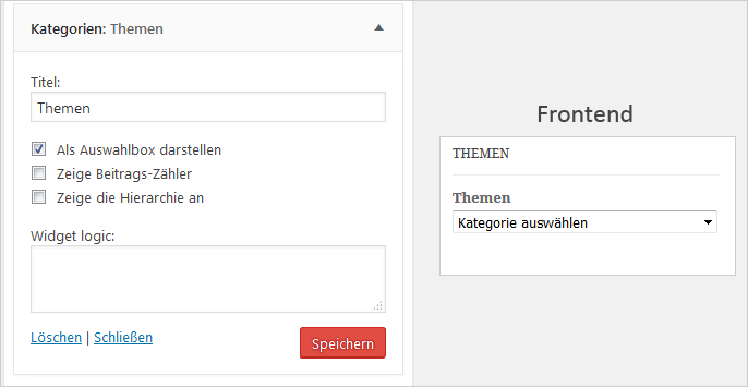 WordPress: Kategorie-Widget als Auswahlbox