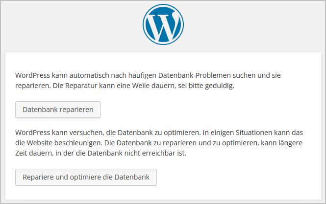 WordPress: Datenbank reparieren und/oder optimieren