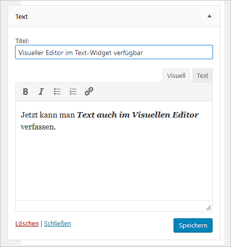 Text-Widget mit visuellem Editor