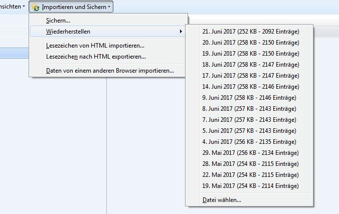 Lesezeichen in Firefox sichern