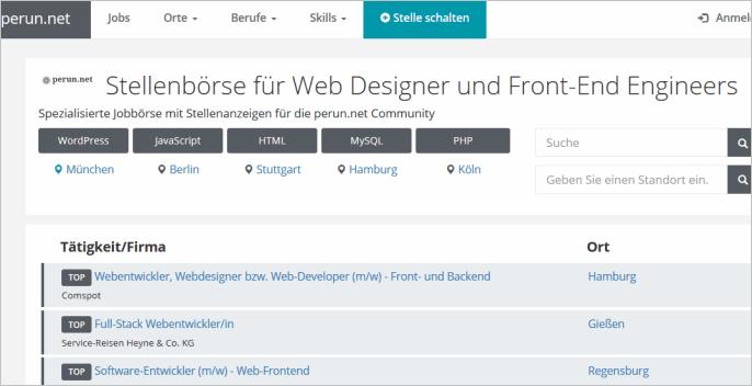 Die Webworker-Jobbörse von perun.net: jobs.perun.net
