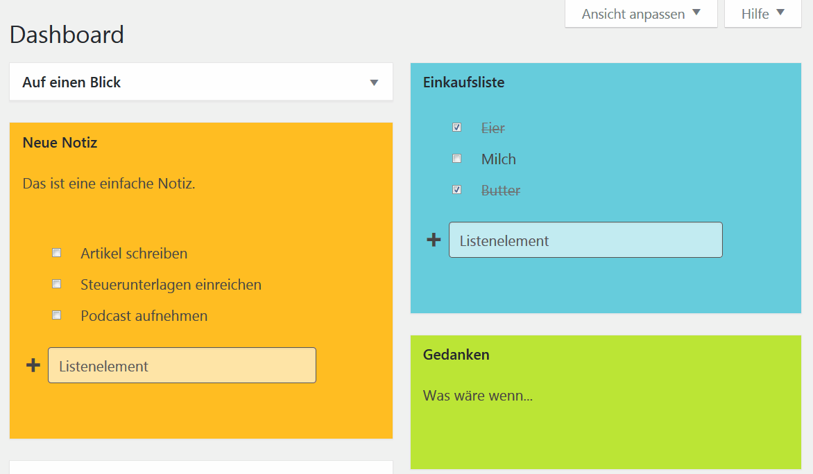 Notizen im Dashboard mit WP Dashboard Notes