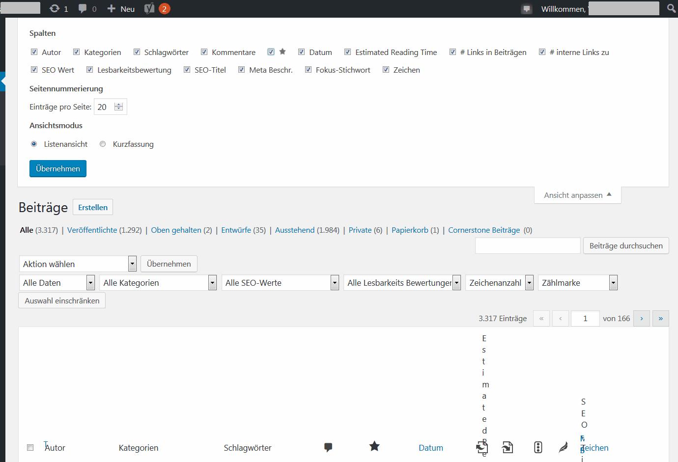 Die Ansicht über alle Beiträge in WordPress-Backend ist zerschossen