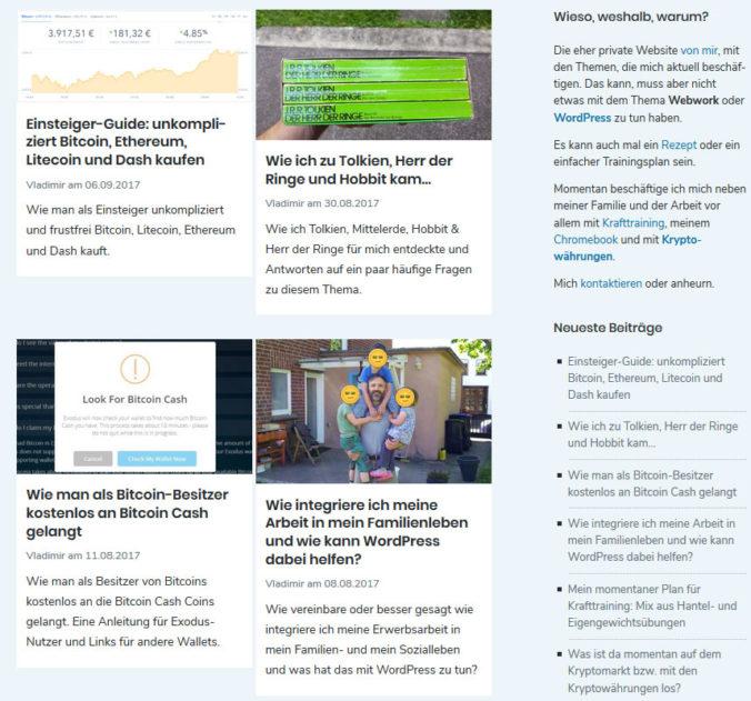 Blogübersicht mit display: inline-block