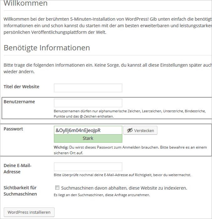 Individueller Benutzername und starkes Passwort in WordPress