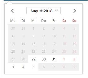 Optisch hervorgehobener Datumsbereich