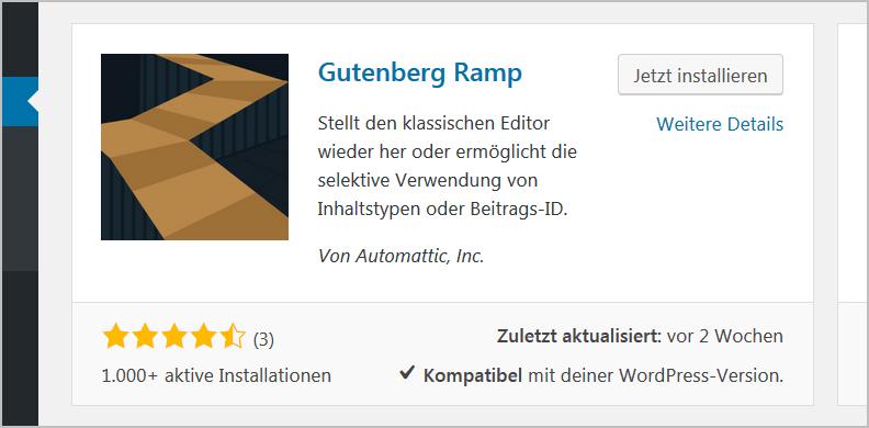 Gutenberg deaktivieren mit Hilfe von Automattic