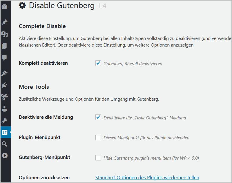 Gutenberg in WordPress deaktivieren