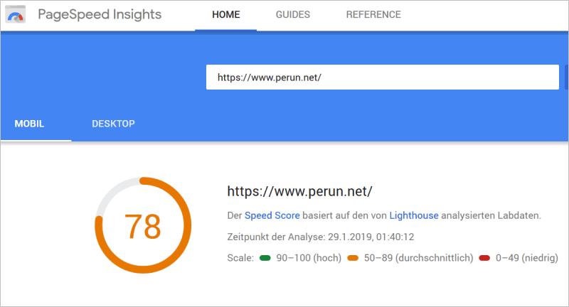 Google PageSpeed Insights in Aktion: Das mobile Ergebnis für perun.net: 78 von 100 Punkten