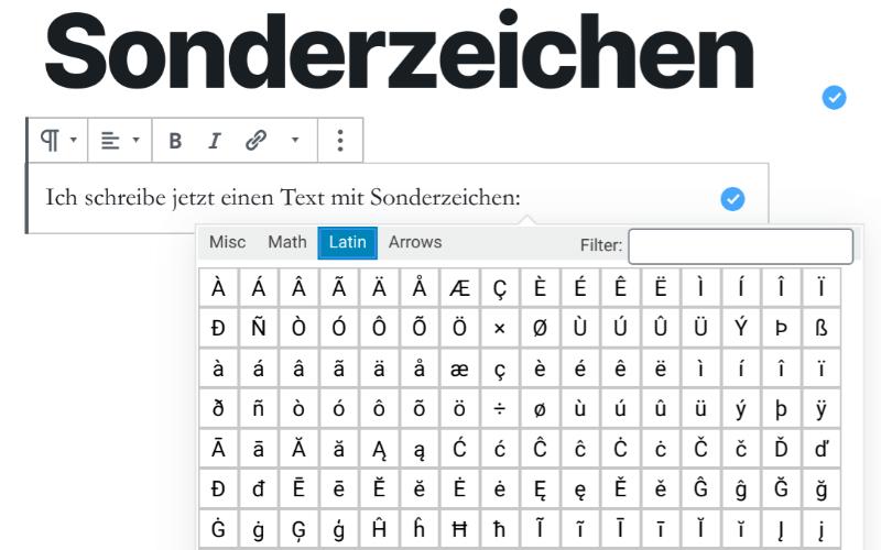 """Sonderzeichen mithilfe des Plugins """"Insert Special Characters"""" in WordPress einfügen"""