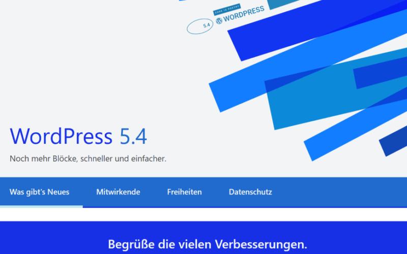 WordPress 5.4: Begrüßungsschirm