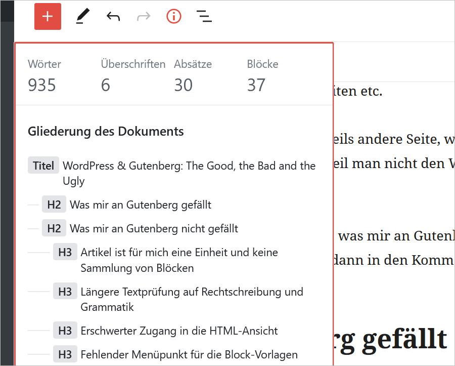 WordPress Gutenberg: Inhaltliche Struktur des Textes im Artikel