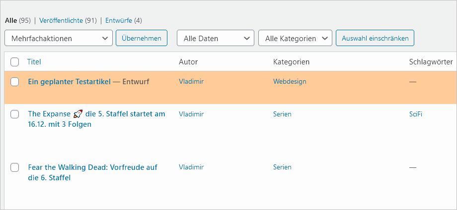 WordPress: Hervorgehobener Entwurf in der Übersicht