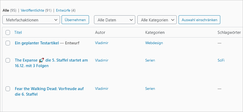 WordPress: Standardübersicht mit einem Entwurf