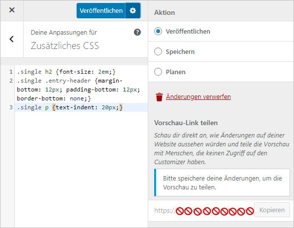 Custom CSS speichern oder planen