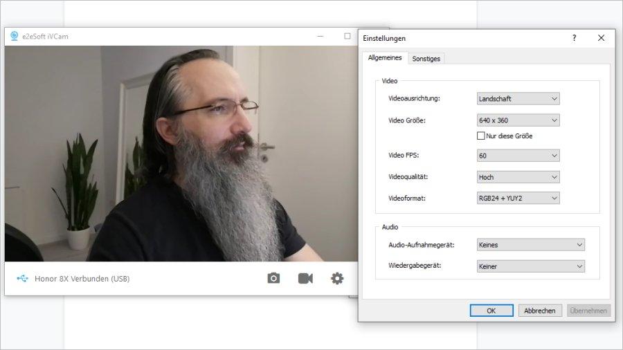Smartphone als Webcam in iVCam