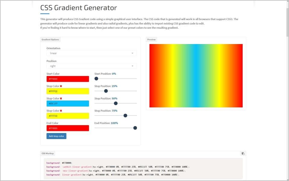 CSS-Generator für Hintergrund-Farbverläufe