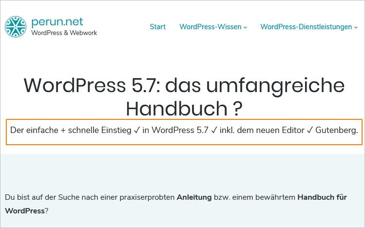 WordPress-Auszug auch auf Seiten