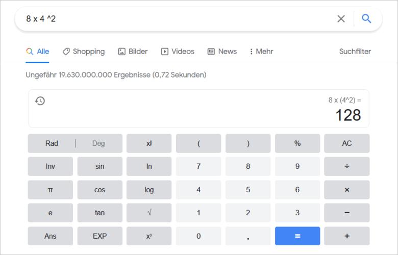 Taschenrechner in der Google Suche