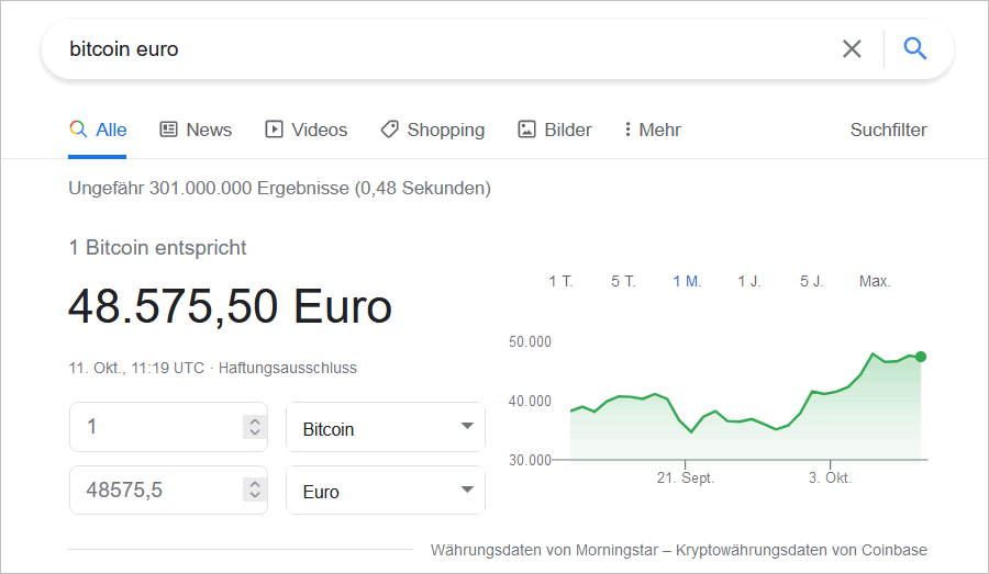 Währungskurse in der Google Suche